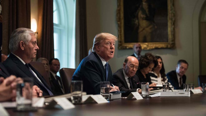 President Trump speaks during a Cabinet meeting at the White House Wednesday.