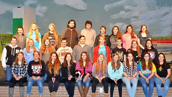 "Cast and crew members of ""The Wizard of Oz"" at Seymour High School are (first row, from left)  Madison Hanson, Ashley Thomas, Karissa Katch, Chloe Rodriguez, Bruce the Dog (if you think he shows up), Carissa Salter, Amanda Fredrickson, MacKenzie Bushland, Molly Prestien, Autumn Metoxen, Maya Chinana; (second row) Meredith Bone, Gretchen Heins, Elizabeth Mathe, Michael Williams, Buddy Huntington, Tanner Witthuhn, Tyler Hotchkiss, Keelie Murphy-Besaw, Sophie Skenandore-Wheelock; (third row) Adrianna VandeCorput, Shayleen Schomisch, Michaela Thurow, Cameron Skenandore, Bejamine Wears, Tanner St. John, Mercede Heinke, Jennifer Buhr and Kayla Hallam."