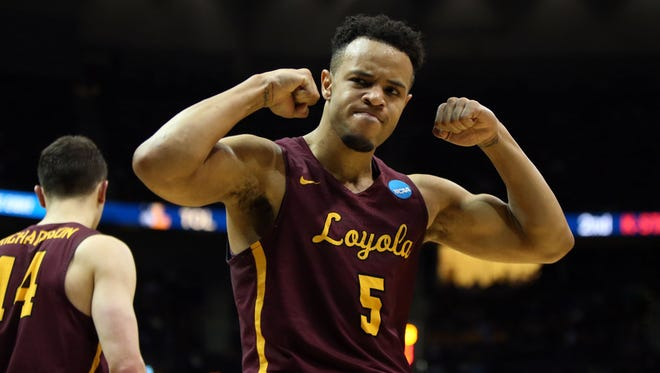 Loyola Ramblers guard Marques Townes (5) reacts during the second half against the Kansas State Wildcats in the championship game of the South regional of the 2018 NCAA Tournament at Philips Arena.