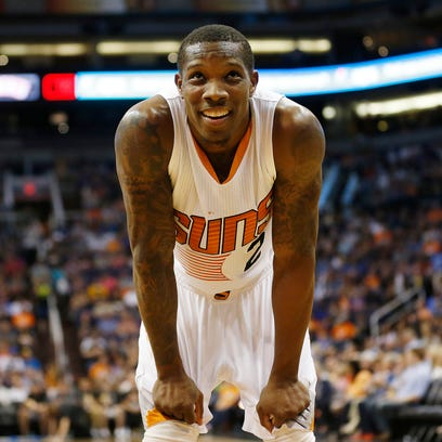 Phoenix Suns guard Eric Bledsoe reacts to a foul call