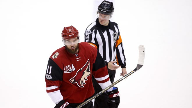 Arizona Coyotes center Martin Hanzal (11) is sent to the penalty box for delay of game during an NHL game against the Pittsburgh Penguins at Gila River Arena in Glendale on February 11, 2017.