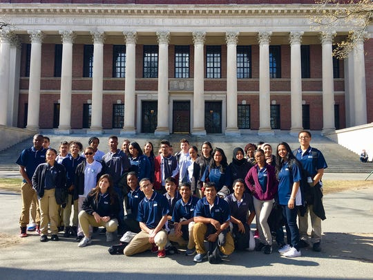 Paterson students on the campus of Harvard during their recent tour of three of the nation's top colleges.