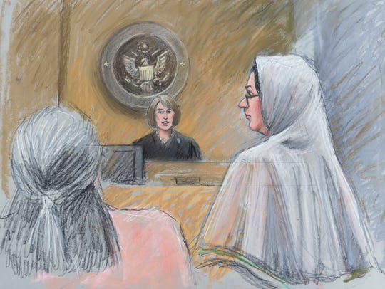 A courtroom sketch shows U.S. Magistrate Judge Mona