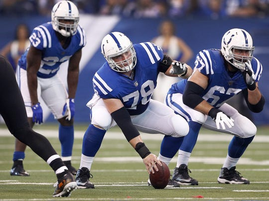 Indianapolis Colts center Ryan Kelly (78) prepares