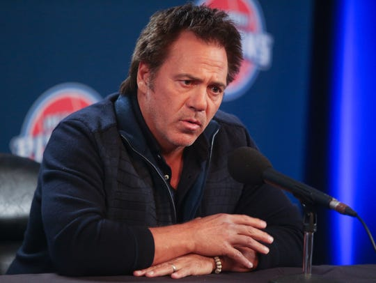 Detroit Pistons owner Tom Gores talks to reporters