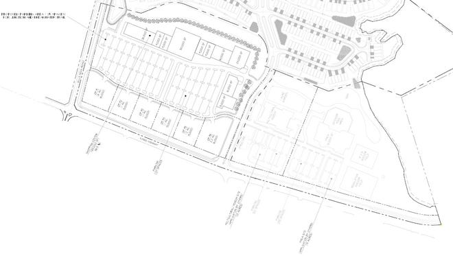 A concept plan for a proposed shopping center at Gills Neck Road and Kings Highway, near Lewes. The developer, J.G. Townsend, Jr. & Co., is asking for a commercial rezoning.
