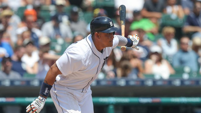 Detroit Tigers Miguel Cabrera singles during fourth inning action against the Minnesota Twins  Wednesday, July 20, 2016 at Comerica Park in Detroit MI. Kirthmon F. Dozier/Detroit Free Press