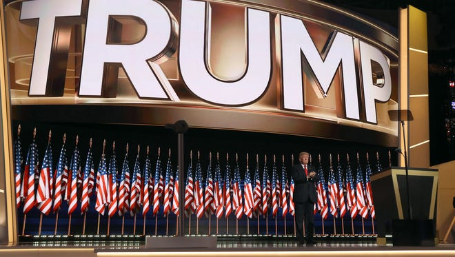 Donald Trump takes the stage during the Republican National Convention on July 21, 2016.