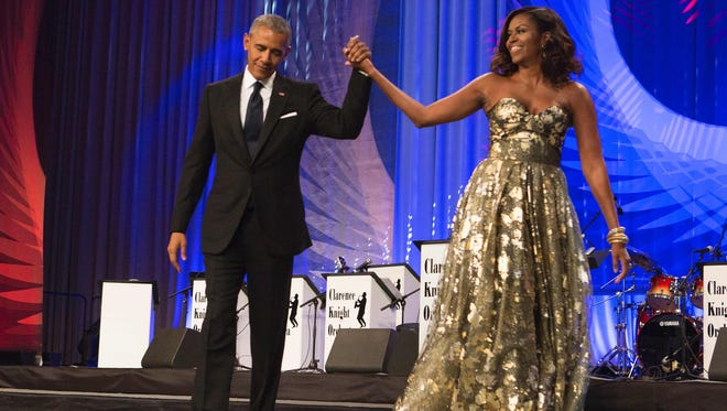President Obama and first lady Michelle Obama at Congressional Black Caucus Foundation's awards dinner on Sept.17, 2016 in Washington, DC.