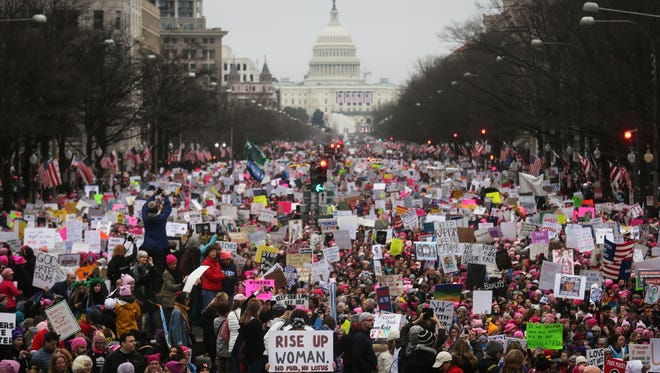 Protesters walk during the Women's March on Washington on Jan.  21.