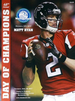 The Press Radio Club program with NFL MVP Matt Ryan on the cover at the Rochester Riverside Convention Center.