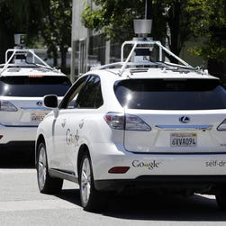 Google's self-driving car prototype seats two. It has begun test-drives on the streets of Mountain View, Calif.