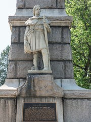 A monument to commemorate the Oct. 10, 1774, battle of Point Pleasant. It is erected at a park overlooking the Kanawha and the Ohio Rivers.