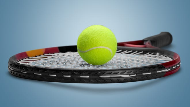 Generic view of a tennis ball and racket.