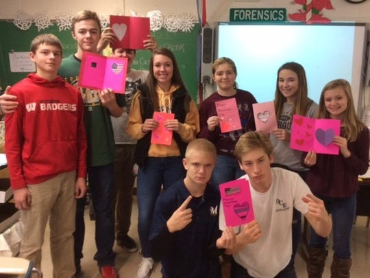 D.C. Everest Junior High students made valentines to support veterans receiving medical care.