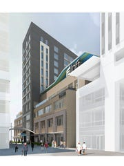 A rendering of planned development along the downtown plaza walkway.
