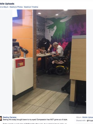 Destiny Carreno posted a picture of a McDonald's employee cutting a disabled man's food and helping him eat on her Facebook page on Sept. 16.
