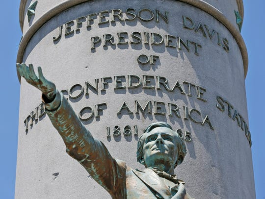 The statue of Confederate president Jefferson Davis on Monument Avenue in Richmond, Virginia. Last month a city study commission recommended that, if the law allows, the statue be removed because of its associations with the roll back of black civil rights at the end of the 19th century. But the commission recommended leaving the avenue's other Confederate statues in place, with signs placing them in historical context.