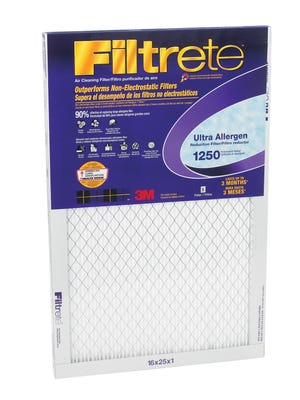 A good-quality, pleated air conditioning filter can catch up to 60 percent of the pollutants in your indoor air. Shown, the Filtrete filter by 3M.