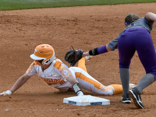 Lady Vols Aubrey Leach is safe at second during play against James Madison in the NCAA Softball Tournament at Sherry Parker Lee Stadium Saturday, May 19, 2018.