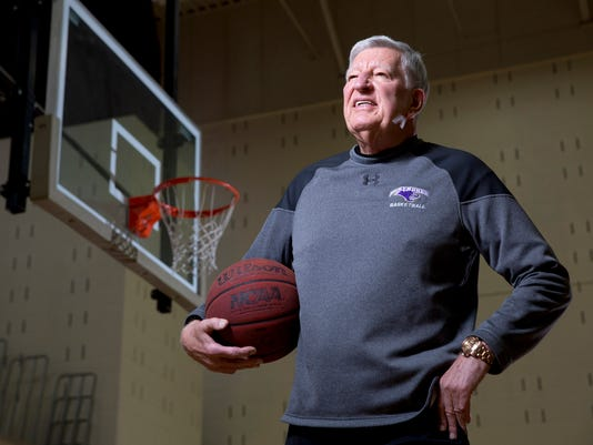 McKendree University head basketball coach Harry Statham poses for a portrait Wednesday, Feb. 3, 2016, in Lebanon, Ill. Statham has won 1,088 games in 50 seasons and is only one win away from breaking a tie with Tennessee women's legend Pat Summit for most ever victories by a coach at a four-year school. (AP Photo/Jeff Roberson)