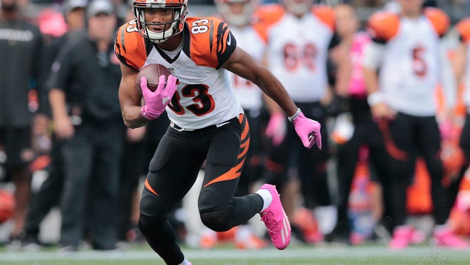 Cincinnati Bengals wide receiver Tyler Boyd (83) turns upfield after making a catch in the second quarter during the Week 6 NFL football game between the Cincinnati Bengals and New England Patriots, Sunday, Oct. 16, 2016, at Gillette Stadium in Foxborough, Mass.