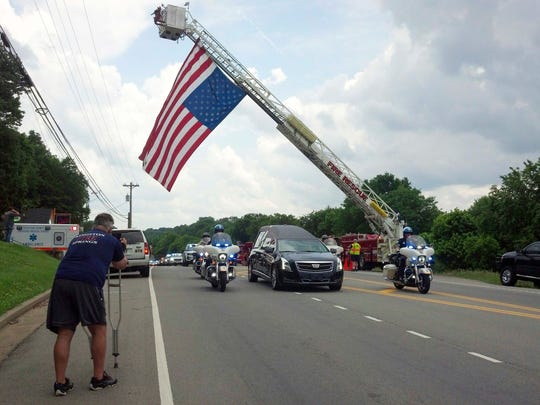 Sgt. Daniel Baker's body was escorted to Dickson County