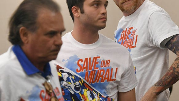 A number of mural supporters wore t-shirts in support