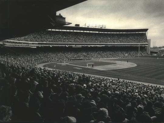 1988: A view from the lower grandstand on the first base side during opening day at County Stadium.