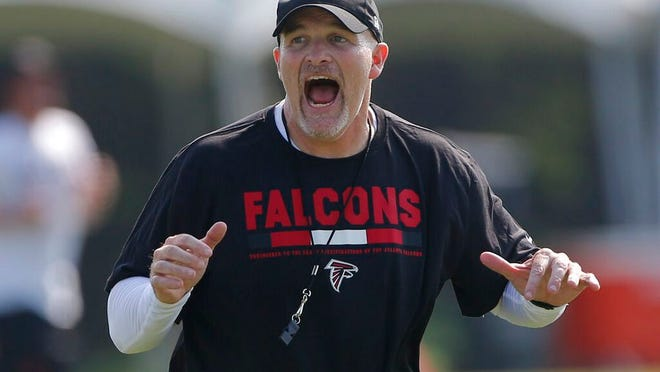 From July 27, 2017, Atlanta Falcons head coach Dan Quinn works with his defensive linemen during the first day of an NFL training camp football practice in Flowery Branch, Ga. Quinn knows this is an offseason unlike any other. Hes not shying away from that reality. But this is also a time that craves a bit of normality, so Quinn is dealing with plenty of familiar issues, including rookie camp, roster moves, position changes, and focusing on areas that need the most improvement.