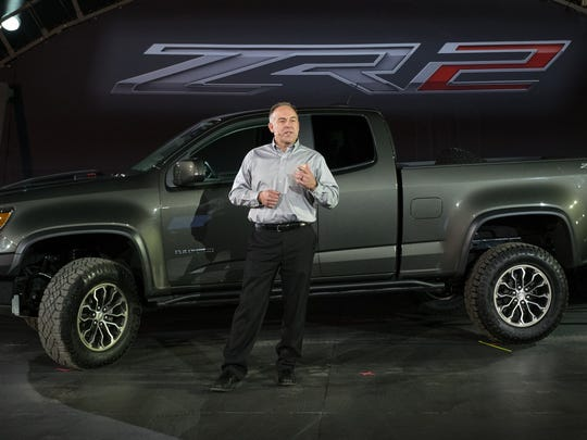 Chevrolet Executive Director Performance Variants, Performance Parts and Motorsports Engineering Mark Dickens rolls out the 2017 Chevrolet Colorado ZR2 mid-size pickup on Tuesday, November 15, 2016 in Los Angeles, California.