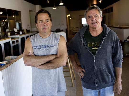 JEFFREY M. SMITH/TIMES HERALD Co-owners Dino Tata and Clyde Moss stand at the future Conner Street Pub. Co-owners Dino Tata, of Macomb Township, and Clyde Moss, of Harrison Township, pictured the future Conner Street Pub, 2326 Conner St. in Port Huron.