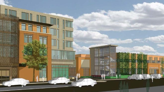 An artist's rendering of the Elizabeth Hotel and adjacent parking garage in downtown Fort Collins.