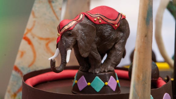 """This elephant from """"Come One, Come All"""" is made from modeling chocolate.  To buy a copy or see more photos, go to http://gallery.johnschlia.com/epilepsy-foundation/2014-chocolate-ball."""