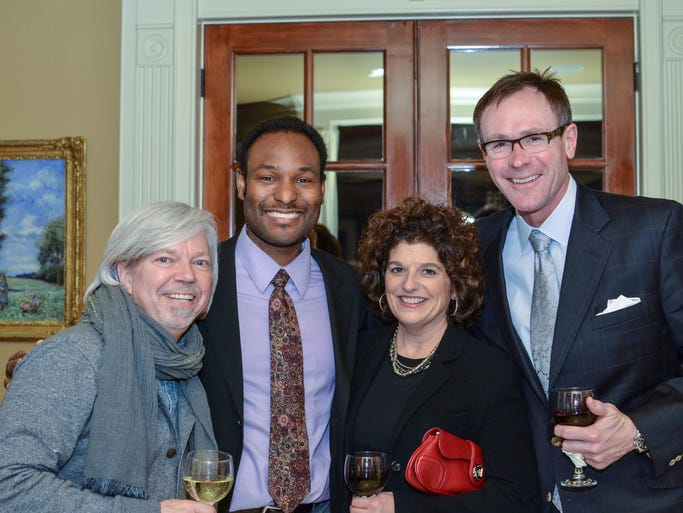 Bob Roethemeyer, left, Greg Crutchfield, and Kim and Harry Shaw at the JDRF Promise Gala Patrons Research Reception and Auction Preview Party, held at the home of Emily and Jason Hubbard.