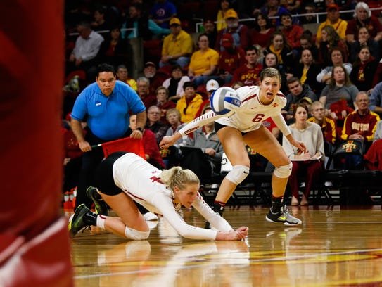 Iowa State's Jess Schaben dives for a ball during the