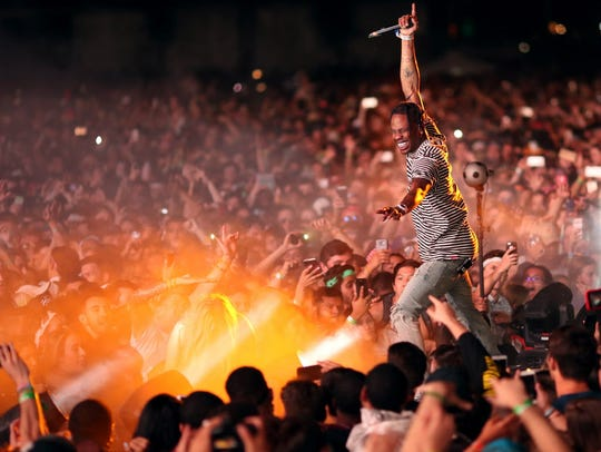 Rapper Travis Scott performs on the Outdoor Stage during