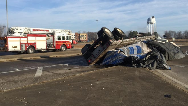 Tractor trailer overturned at the eastbound ramp from Highway 46 onto Interstate 40 in Dickson.