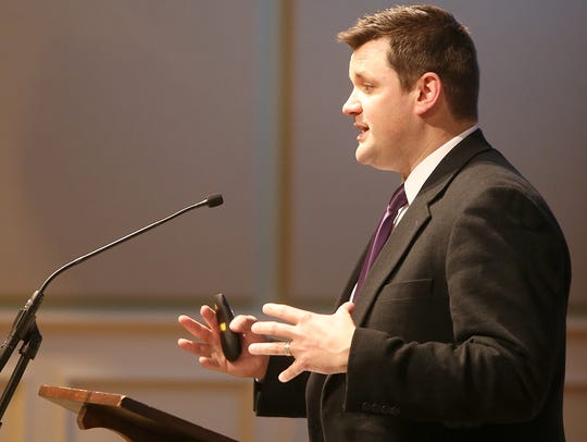 A.J. Massey, seen here in this 2016 file photo, speaks during the First Friday Forum in Clayton Hall at First United Methodist Church when he was chairman of Relay For Life.