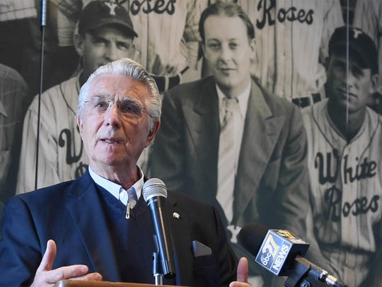 Robert Pullo, retired chairman and CEO of York Federal Savings & Loan, talks during the announcement of Give Local York at PeoplesBank Park in York.