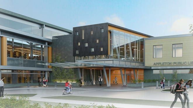 A conceptual drawing depicts the possible $42 million Appleton Public Library that would be built on the downtown site of Trinity Lutheran Church and Fox Banquets and Rivertyme Catering. This is the exterior view of the main entrance shown in the knuckle of the L-shaped design.