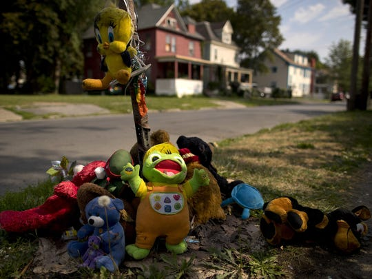 A makeshift memorial of stuffed animals decorates a South Side street corner in Syracuse, N.Y., on Aug. 21. The memorial was created for 15-year-old Akil Williams, who was shot earlier this summer. From 2014 through this past June, 48 youths aged 12 to 17 in Syracuse were killed or injured in gun violence. The city's rate of teen shootings per capita is more than double those seen in the vast majority of U.S. cities with populations of 50,000 or more, according to an Associated Press and USA TODAY Network analysis of shooting cases compiled by the nonprofit Gun Violence Archive.