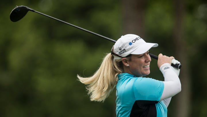 PGA Tour: Pro women's golfer Brittany Lincicome taking her shot against the men
