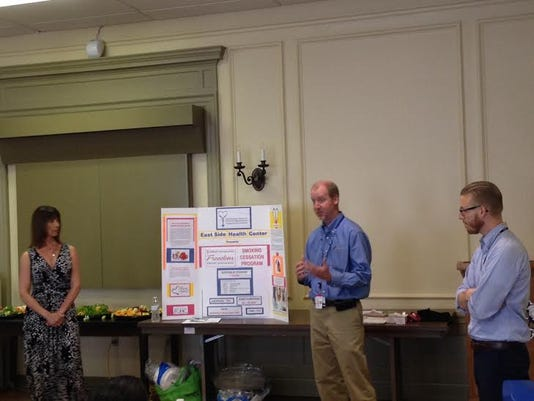 Submitted: Presenters, from left, Cori Strathmeyer of the YMCA of York, Dr. Matthew Howie and Craig Walt, both of the City of York -- Bureau of Health, take questions at the end of a Million Hearts Workshop open to the public Monday, July 20.