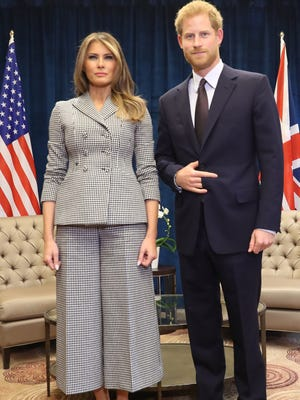 Prince Harry met with first lady Melania Trump, who's on her maiden solo foreign trip as first lady, ahead of Saturday evening's Invictus Games opening ceremony.