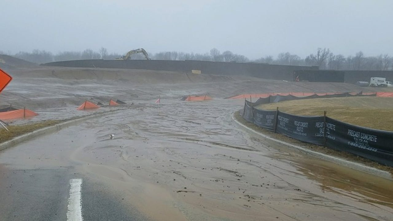 Mudslides Shut Roads At Waterview Construction Site In Parsippany