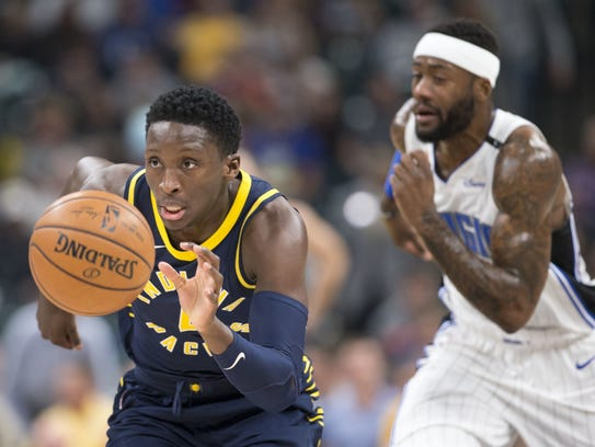 Indiana?s Victor Oladipo heads toward a dunk after
