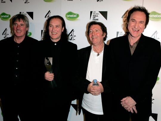 Kinks band members Mick Avory (from left), Dave Davies,