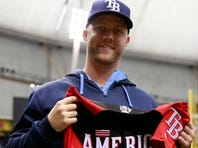 Rays relief pitcher Brad Boxberger is presented his jersey for the All-Star Game on July 12.