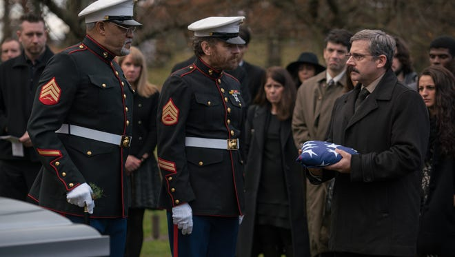 "Laurence Fishburne as Mueller, Bryan Cranston as Sal and Steve Carell as Larry in ""Last Flag Flying."""